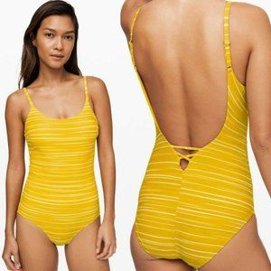 Lululemon Salt-Laced One-Piece Swimsuit Yellow 10